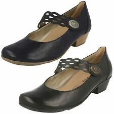 LADIES REMONTE LEATHER RIPTAPE STRAP CUBAN HEEL MARY JANE COURT SHOES D7345