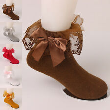 New Cute Children Girls Kids Bow Lace Durable Solid Soft Cotton Socks Lot Autumn