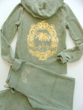 Juicy Couture Tracksuit Iconic Palm Velour Hoodie Pants Olive Track Set Medium M