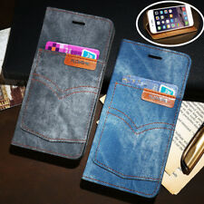 Floveme Denim Jeans Cloth Pocket Wallet Stand Case Cover For iPhone 6 6s Plus