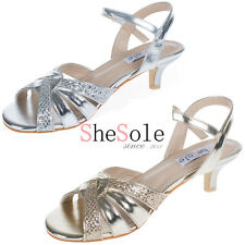 SheSole womens ladies sequins strappy low kitten heel sandals wedding shoes size