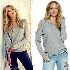 ELAN Boho Babe Grey Cold Shoulder Cut Out Frayed Long Sleeve Luxury Knit Top S-L