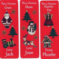 3 CHRISTMAS BOOKMARKS PERSONALISED,FOR THAT SPECIAL PERSON.18cm x 5cm LAMINATED