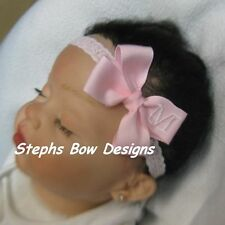 SOFT PINK MONOGRAMMED PERSONALIZED DAINTY HAIR BOW MONOGRAM  A-Z LETTERS So CUTE