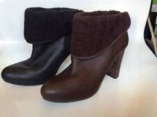 UGG Dandylion Ankle Boot Black OR Brown Knit Cuff Leather Women 9