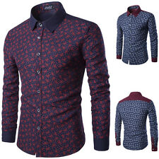 XS~XL Casual Stylish Men Long Sleeve Slim Fit Dress Shirt Formal Luxury T-Shirts