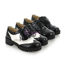 Free Womens Girl Low Block Heel Brogue Retro Vintage Lace up Oxfords Shoes 34-43