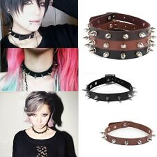 Punk Gothic Rivet Spiked Studded Buckle Leather Choker Collar Necklace Jewelry