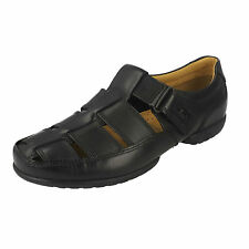 MENS CLARKS RECLINE OPEN RIPTAPE WIDE LEATHER CLOSED TOE SUMMER SANDALS