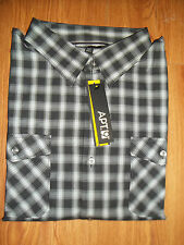 NWT Mens Casual Button Front Shirt by Apt. 9, Black Plaid/Checks! XL