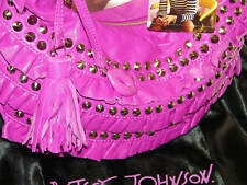 BETSEY JOHNSON -AUTHENTIC BETSEYVILLE *FRILLED STUDDED LEATHER HOBO BAG*+DustBag