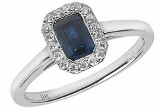 Octagon Sapphire With 18 Diamond Rounds Ring White Gold British Made Size J - Q