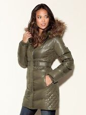 NWT Guess Down Coat Jacket With Faux Fur Detachable Hood Size L 55% down