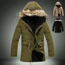 Fashion Mens Fur Hooded Winter Long Warm Coat Parka Military Jacket Slim Outwear