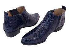 Mens Dress Shoes Roberto Chillini 5156 Navy Blue Zippered Boots Cuban Heel Gator