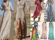 BOHO WOMENS SUMMER HIPPIE TOP SZ 8-18 LADIES PARTY EVENING BEACH LONG MAXI DRESS