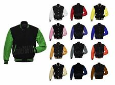 New Style Wool & Genuine Cow Leather Sleeves Varsity Letterman Baseball Jacket