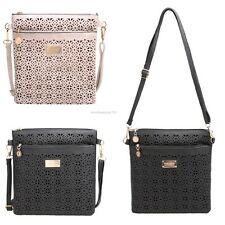 Women Synthetic Leather Messenger Bag Hollow Soft Casual Party Shoulder Bag