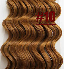 Golden Brown Curly  Wavy Clip In 100%Real Human Hair Extension Deep Weave Hair