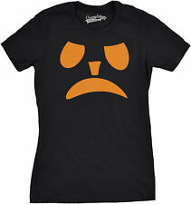 Womens Frowning Pumpkin Face Funny Fall Halloween Spooky T shirt (Black)