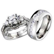 His and Hers Wedding Rings 3 pcs Engagement CZ Sterling Silver Titanium Set DG