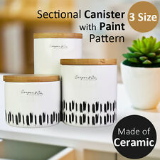 Sectional Canister with Paint Pattern Ceramic Kitchenware Food Storage Organizer