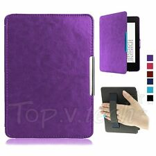 Magnetic Leather Smart Case Cover for Amazon Kindle/Kindle Paperwhite Purple