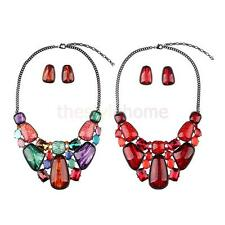 Lady Jewelry Crystal Accessories Statement Necklace Stud Earings Jewelry Sets