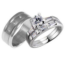 His and Hers Wedding Rings 3 pcs Engagement CZ Sterling Silver Titanium Set AB