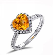 18K White Gold GP 6mm Yellow Crystal Heart ring AAA Zircon Lady wedding Ring