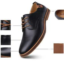 Men's Casual Size Leather Lace-Up Dress Shoes Round Toe Formal Dress Shoes