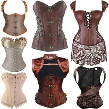 Beige Brown Gothic Vintage Women Dress Corset Basque Burlesque Palace Style UK