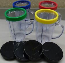 Magic Bullet 4 party Mugs with Comfort Rings & 4 Stay Fresh Lids