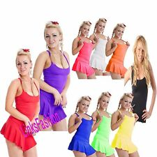 LADIES WOMENS PLAIN STRETCHY LYCRA NEON STRAPPY CAMI RIBBED VEST LOT TOP UK 8-16