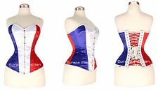 Steel Boned Victorian Tight Lacing Quality Satin Full Bust Corset England Flag