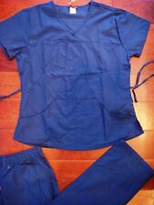 945 New Nurses Uniform Warp tie Top and Cargo Pants Fashion Scrubs Set Navy Blue