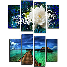 4X Seaside Floral Oil Painting Pictures Living Room Wall Art Home Decor Glorious
