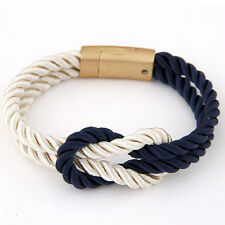 Unisex Braided Rope Chain Bracelet Magnetic Clasp Bow Charm Bangle
