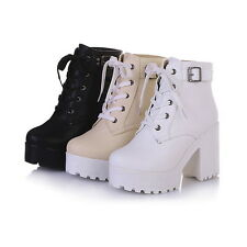 Womens High Block Heel Platform Punk Goth Buckle Lace Up Ankle Motor Boot 34-43
