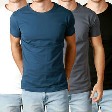 Mens 3PACK Basic CREW neck Tees cotton Plain t-shirts Casual Slim Fit blank tee