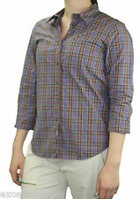 STEVEN ALAN Periwinkle & Brown Plaid Long Sleeve Reverse Seam Shirt WST03CT NWT