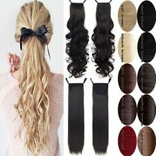 Women Tie Up Ponytail Clip in Pony Tail Hair Extensions Soft Natural Curly f6a