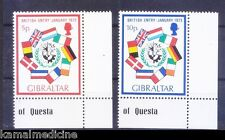 British EC membership, Flags, Gibraltar 1973 MNH 2v Corner Set -O07