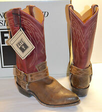 New $348 Frye Billy Harness Burgundy/Brown Leather Multi Cowboy Boots Distressed
