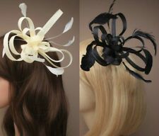 Fascinator Comb in Black or Cream with feathers for weddings , ladies day