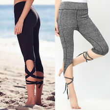 Womens Sports Gym Yoga Workout Cropped Leggings Running Lounge Athletic Pants