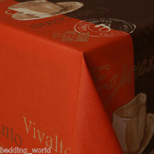 ACRYLIC COATED TABLE CLOTH COFFEE ORANGE BROWN GOLD CUPS ESPRESSO WIPEABLE COVER