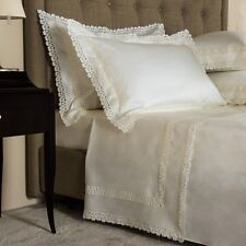$3200! NEW FRETTE Queen King IVORY  macrame SEMPIONE PIZZO LACE Sheet 4 PC Set