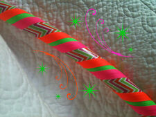 Neon Zig Zag Dance & Exercise Hula Hoop COLLAPSIBLE  hot pink green PUSH BUTTON