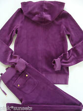 Juicy Couture Velour Royal Magenta Tracksuit Hoodie Pocket Pants M Medium